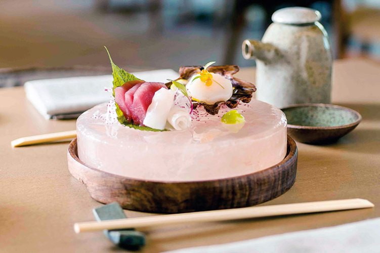 Sashimi served on the Himalaya salt stone at Shiso, The Grand Hyatt Rio de Janeiro