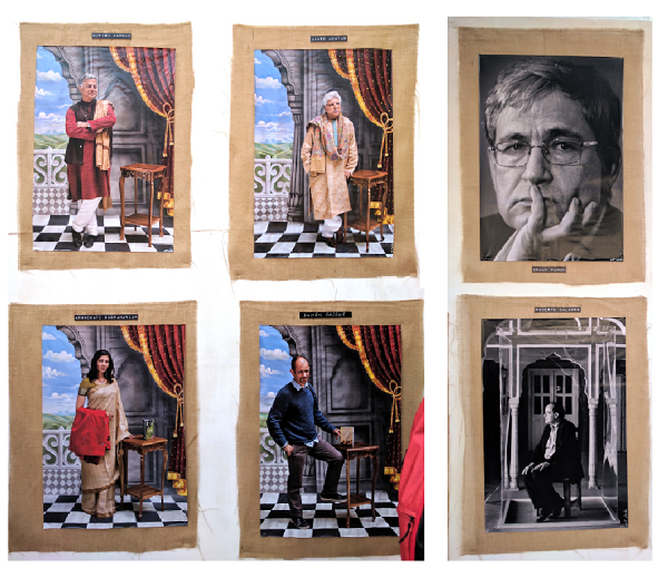 Rohit Chawla's author portraits on display at the venue at JLF 2017