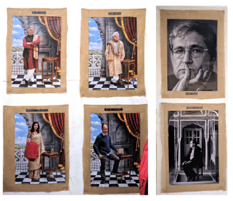 Rohit Chawla's author portraits on display at the venue