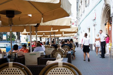 Terraced cafes in Cluj