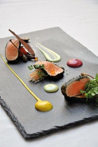 Salmon Tataki with Cucumber Salad