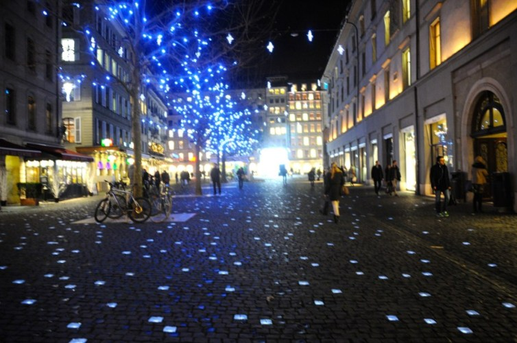 Cobbled pathway: tiny squares glow in the dark