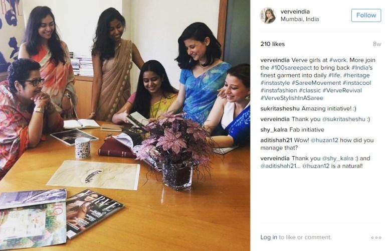 Verve girls wear the sari to work