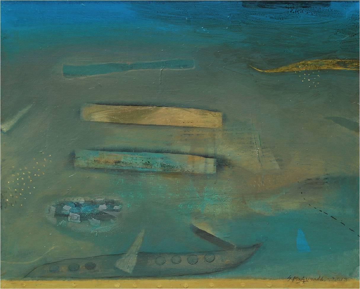 Samindranath Majumdar oil on canvas paintings Jehangir Art Gallery Mumbai history water