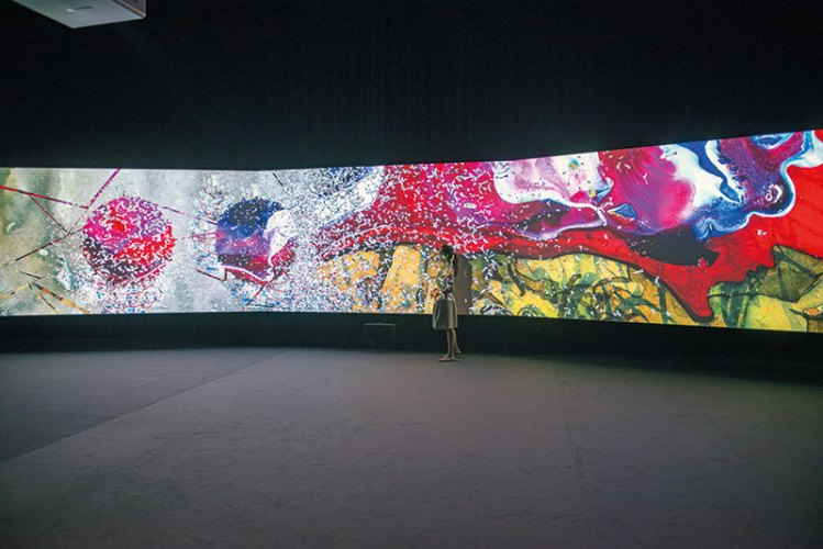 Parallax, 2013, 3-channel HD video animation with 5.1 surround sound, Music by Du Yun, 15 feet 10 in. Installation view, Guggenheim Museum, Bilbao, 2015