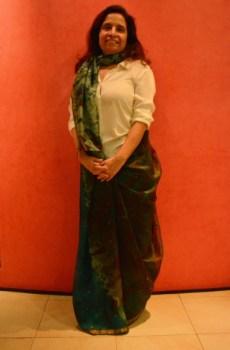 Shirin Mehta draped her sari innovatively over a white shirt