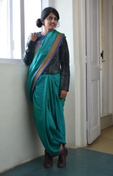 Shruti Pillai wore her sari over a biker jacket