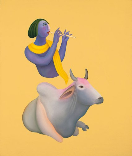Krishna and the Bull by Manjit Bawa sold for 43000 dollars at the Christie's auction