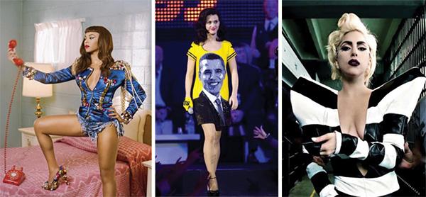 L to R: Beyoncé, Katy Perry, Lady Gaga