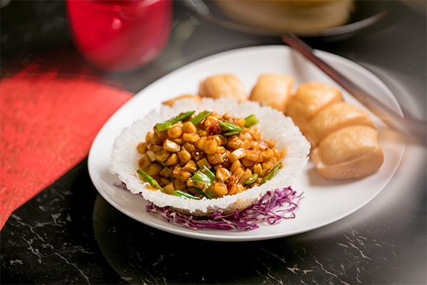 Stir-fried wild mushrooms with golden mantao