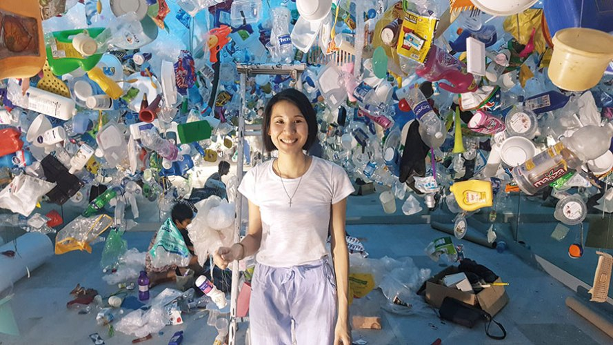 Tan Zi Xi with her Sassoon Docks Project installation