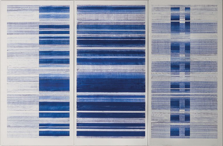 Tanya goel, Index II, 2018, Neel pigment on wall, 244 x 122 cm / 96 x 48 in each panel (triptych)