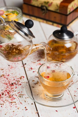 Tea infused with rose petals and lemon balm