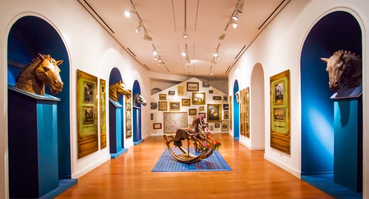 The Hermès  Horse exhibition featuring paintings from the Émile Hermès  collection; photographs by Antoine Schneck; Horse-head sculptures by Denis Mondineu