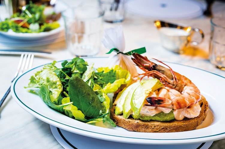 Prawn and Avocado open sandwich at The Ivy Café Marylebone
