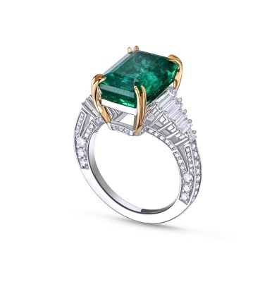 The La Sacla Ring by House of Meraki set with Gemfields Zambian Emeralds