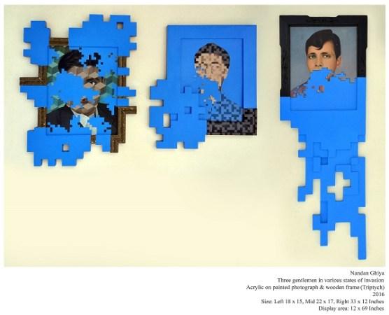 Three Gentlemen in Various States of Invasion (triptych)