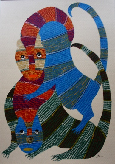 Two Lions, Gond Art