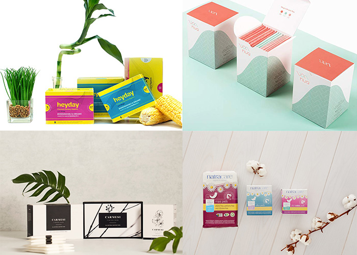 Heyday, Carmesi, Vivanion, Natracare, Sakhi, Shecup, Nua, eco-friendly sanitary napkins, sustainable sanitary pads, feminine hygiene products, featured, online exclusive, plastic-free,