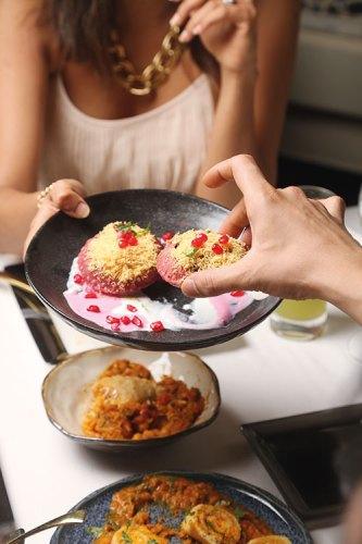 Rajpuri with Beetroot Yogurt and Sev