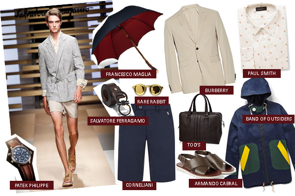 monsoon men menswear fashion rainwear shorts Burberry Corneliani umbrella Ferragamo Tod's