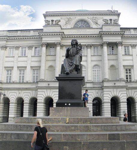 The Nicolaus Copernicus Monument in front of the Staszic Palace