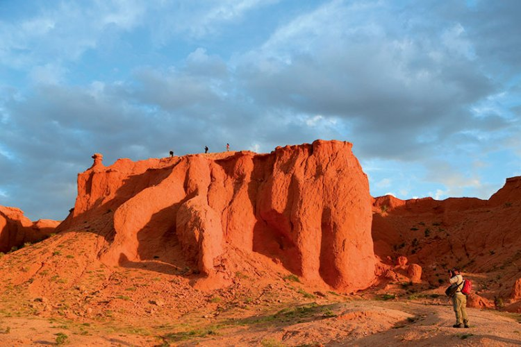 Bayanzag — also called the 'flaming cliffs'