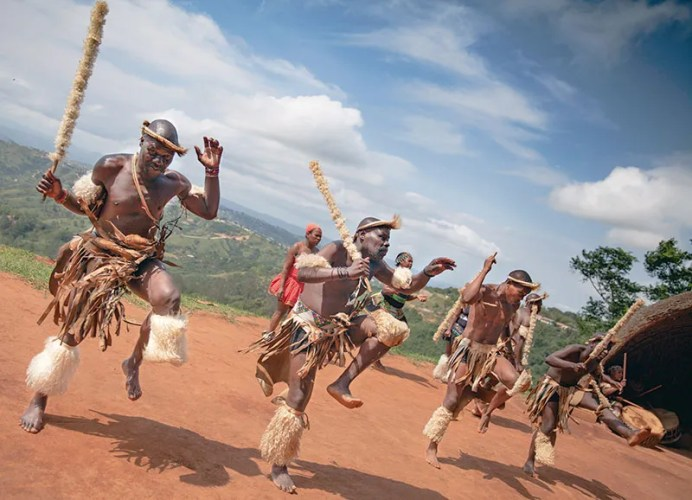 Members of the Gasa clan show off their energetic moves to the tourists who visit Phezulu Safari Park