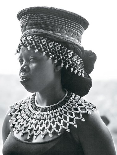 A Zulu tribal woman dressed with beaded accessories