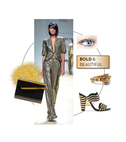 Runway look: Siddhartha Tytler Clutch from Fendi; Block heels from Jimmy Choo; Ring from Gucci