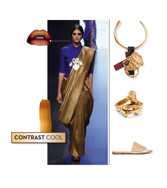 Runway look: Payal Khandwala; Flats by Gianvito Rossi; Neckpiece and ring by Tom Ford