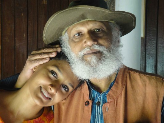 With her father, artist Jatin Das