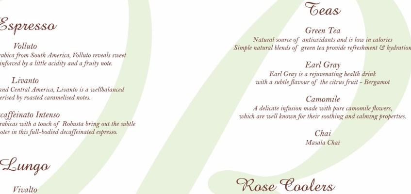 The House of Rose beverage menu