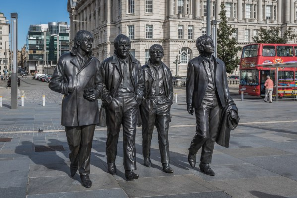 Bronze statues of The Beatles at the Pier Head, Liverpool