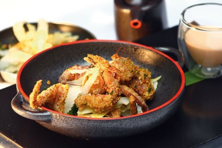 Soft shell crab, flame roast coconut, Madras gunpowder