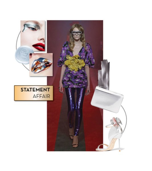 Runway look: Gucci; Clutch by Maison Margiela; Stilettos by Sophia Webster