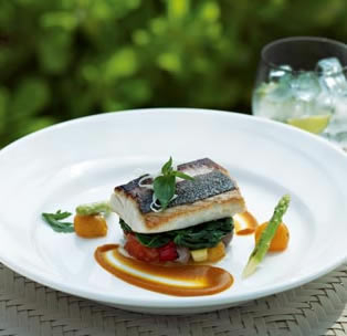 Continental poached fish and grilled Asparagus with a tamarind sauce