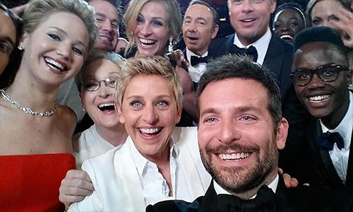 Oscar ussie with Jennifer Lawrence Bradley Cooper Ellen DeGeneres