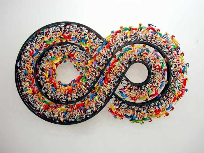 Endless Walk, hand painted laser cut steel, 3 layers wall sculpture, limited edition of 150 (2)