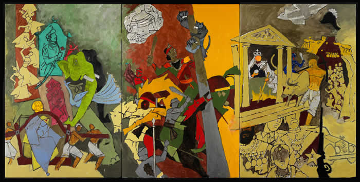M.F._Husain_Three_Dynasties_2008-2011._Courtesy_of_Mrs_Usha_Mittal__Victoria_and_Albert_Museum_London