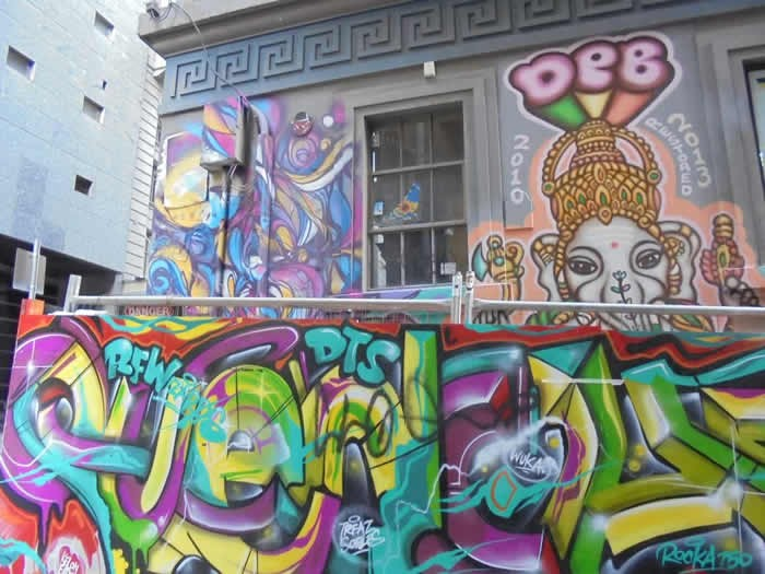 Melbourne's iconic street graffiti includes some drawings of Lord Ganesh too