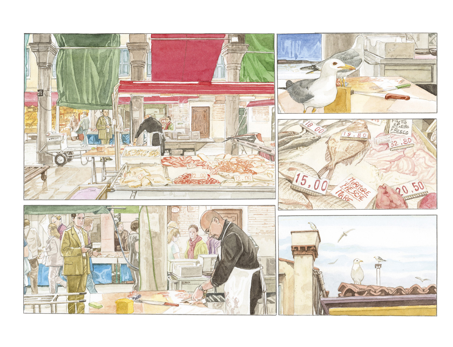 Louis Vuitton Travel Book Venise, illustre par Jiro Taniguchi, 2014 : vues du marche du Rialto.
