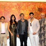 Dr Mukesh Batra, Ashish Anand, Nisha JamVwal, Actors Denzil Smith, Tanuj Virvani, Kishore Singh, Consul Gen Richard Bale at the launch of Indian Abstracts at Delhi Art Gallery, Mumbai