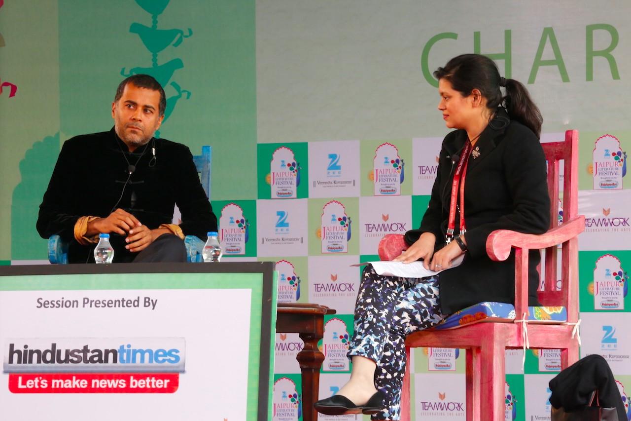 Chetan Bhagat and Meru Gokhale-1