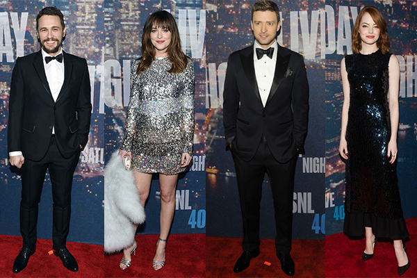 SNL 40 Saturday Nigh Live Dakota Johnson new york jistin timberlake hollywood emma stone james franco kristen wiig jim carrey