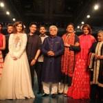 L-R - Amitabh Bachchan, Shweta Nanda, Anil Kapoor, Sonam Kapoor, Manish Malhotra, Farhan Akhtar, Javed Akhtar, Shatrughan Sinha, Sonakshi Sinha, Jaya Bachchan & Abhishek Bachchan