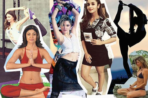yoga and celebrities bollywood alia bhatt hollywood madonna kareena kapoor