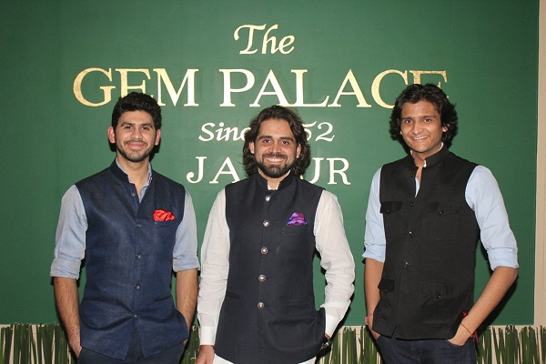 Samarth, Siddharth and Sarthak Kasliwal at the launch of Gem Palace in Mumbai