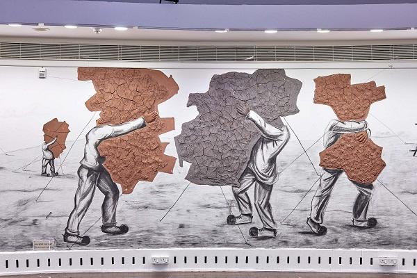 Artwork by Prabhakar Pachpute at NGMA, Mumbai