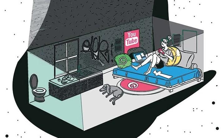 Internet Paradox, shoe box life. illustration, modern, life